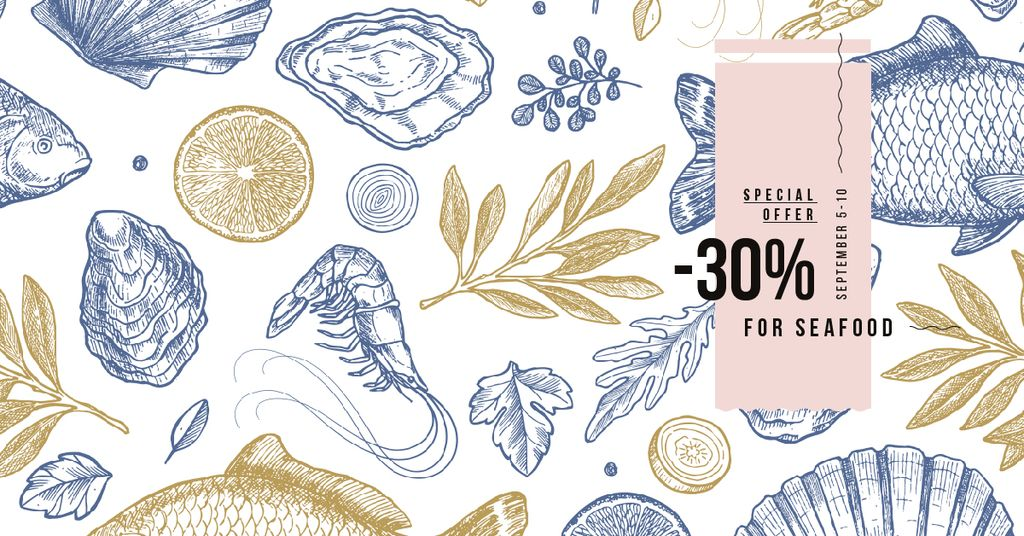 Restaurant Offer Assorted Fresh Seafood Sketches Facebook AD Design Template