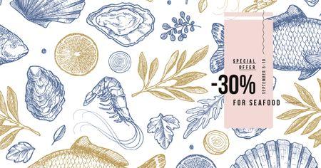 Plantilla de diseño de Restaurant Offer Assorted Fresh Seafood Sketches Facebook AD