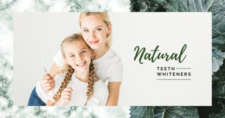 Mother and daughter brushing teeth Facebook AD – шаблон для дизайна
