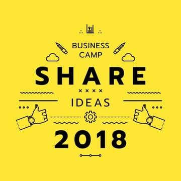 Business camp promotion icons in yellow