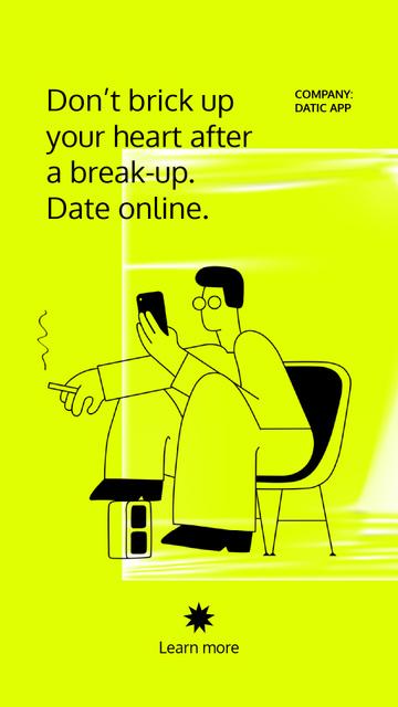Modèle de visuel Online Dating App promotion with Man using Phone - Instagram Video Story