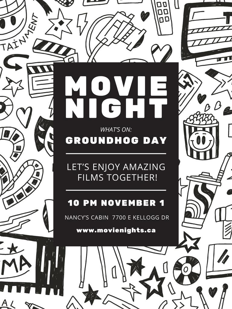 Movie Night Event Arts Icons Pattern — Створити дизайн