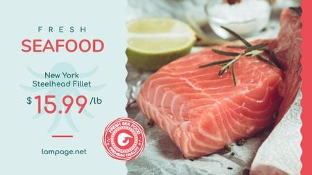 Plantilla de diseño de Seafood Offer Raw Salmon Piece Title