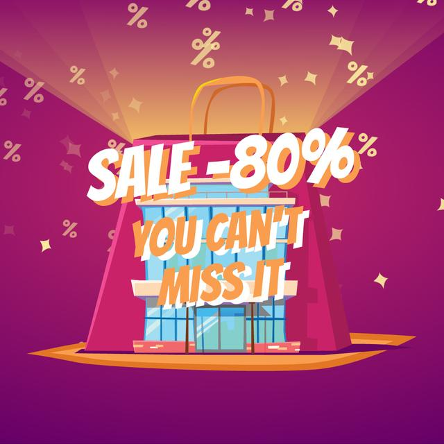 Shopping bag with percent icons Animated Post Modelo de Design