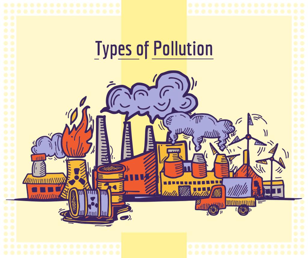 Environment pollution concept Facebook Design Template