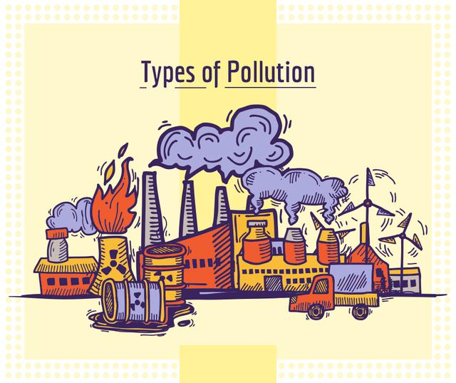 Environment pollution concept Facebook Tasarım Şablonu