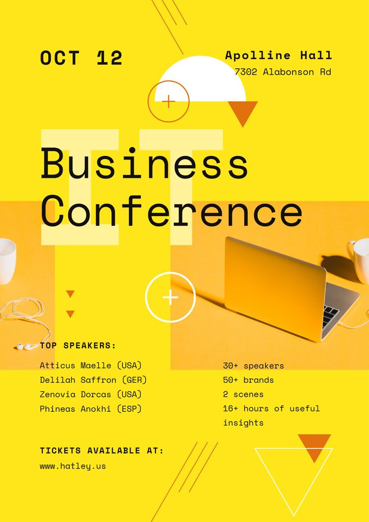 Business Conference Announcement with Laptop in Yellow — Maak een ontwerp