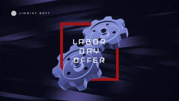 Labor Day Offer Blue Cogwheels Mechanism | Full Hd Video Template