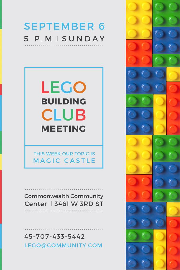 Lego Building Club Meeting with Constructor Bricks Pinterestデザインテンプレート