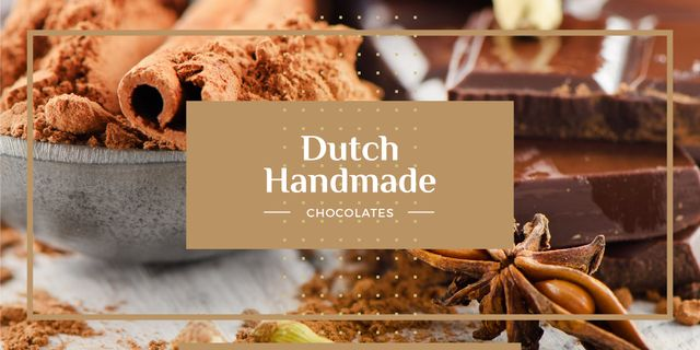 Handmade Chocolate ad with Spices Image Design Template