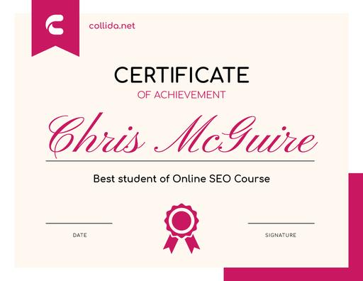 Seo Course Program Achievement In Pink