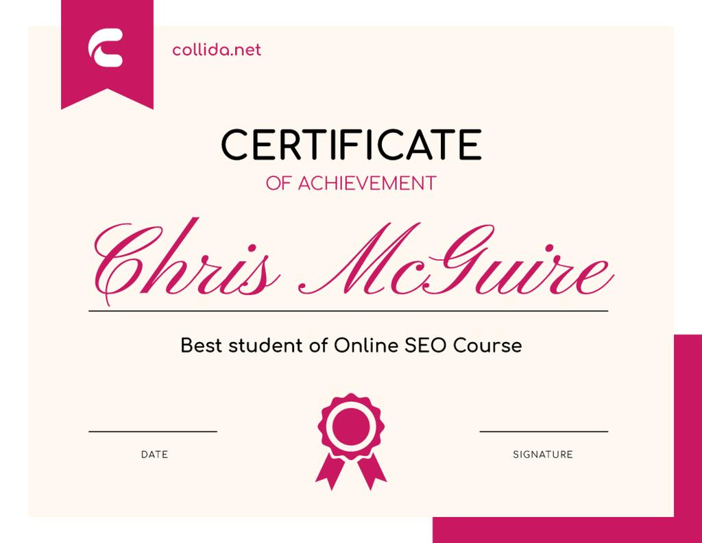SEO Course program Achievement in pink — Создать дизайн