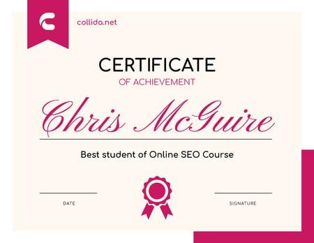 SEO Course program Achievement in pink Certificate – шаблон для дизайна