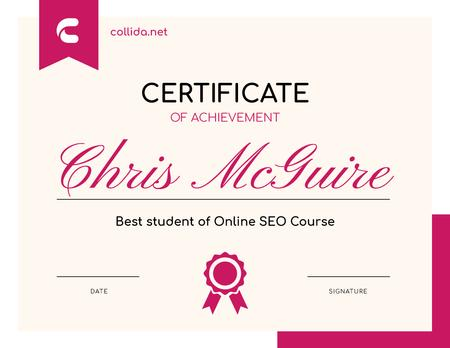 Ontwerpsjabloon van Certificate van SEO Course program Achievement in pink