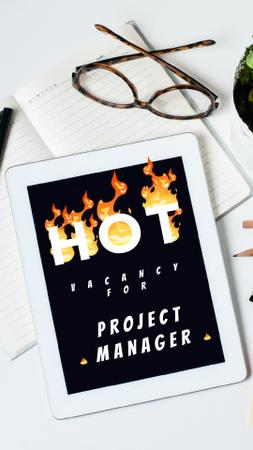 Plantilla de diseño de Hot Vacancy on Digital Tablet Instagram Video Story