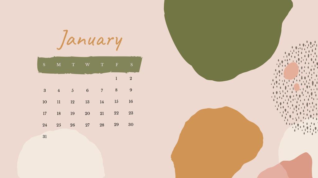 Colorful Paint blots in natural colors Calendar Design Template