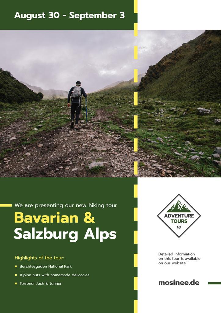 Hiking Tour Offer Man Walking in Mountains | Poster Template — Créer un visuel