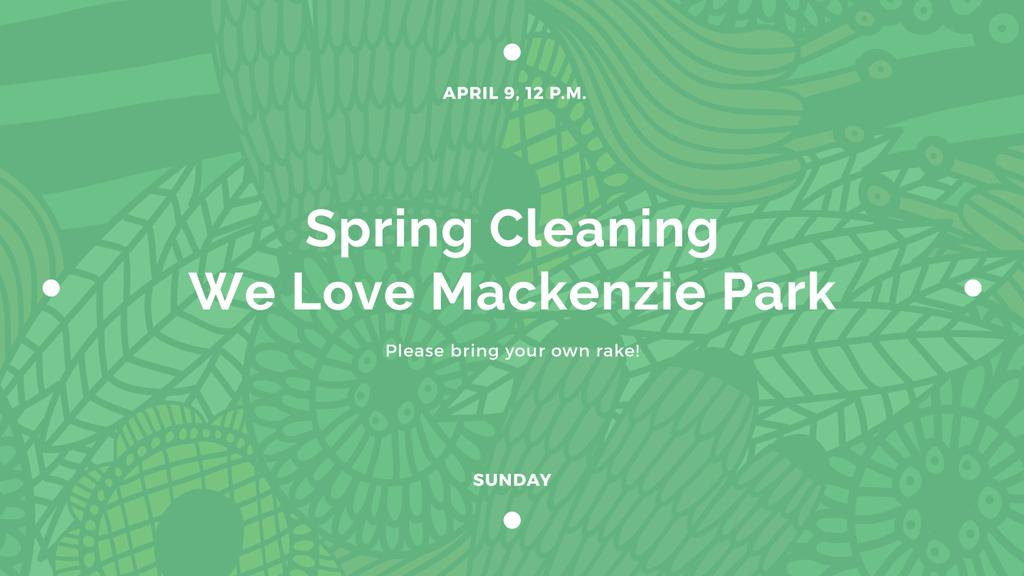 Spring Cleaning Event Invitation with Green Floral Texture — Crea un design