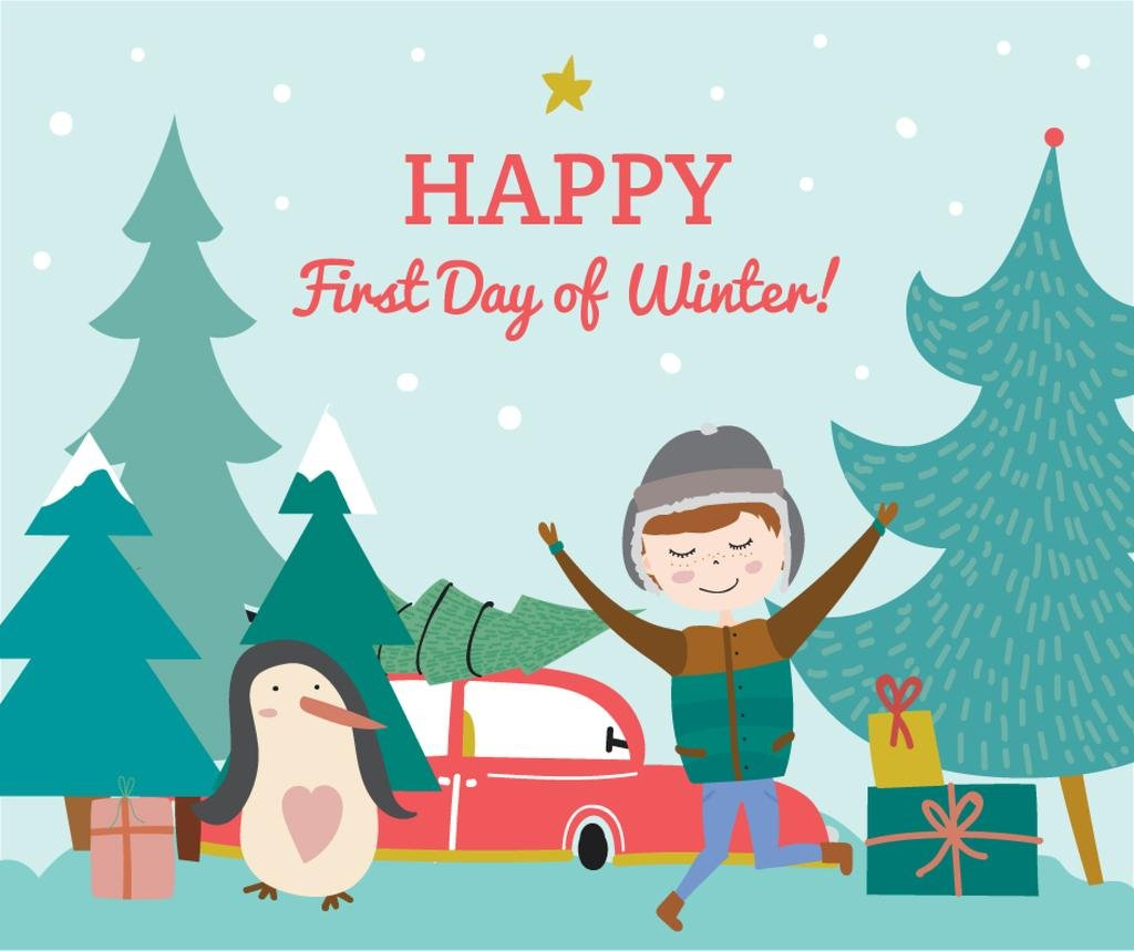 First day of Winter greeting with penguin and boy — Створити дизайн
