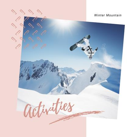 Snowboarder in Snowy Mountains Instagram AD Modelo de Design