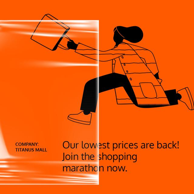 Plantilla de diseño de Online Store Sale ad Woman running with Phone Animated Post