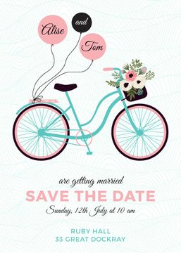 Wedding Invitation Card with Bicycle and Flowers