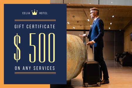 Plantilla de diseño de Airport Services Offer with Businessman with Luggage Gift Certificate