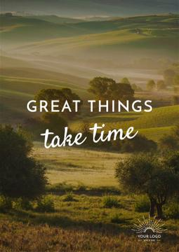 Great things take time Quote with Majestic landscape
