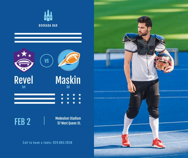 Ontwerpsjabloon van Facebook van Football Match announcement Player with Ball