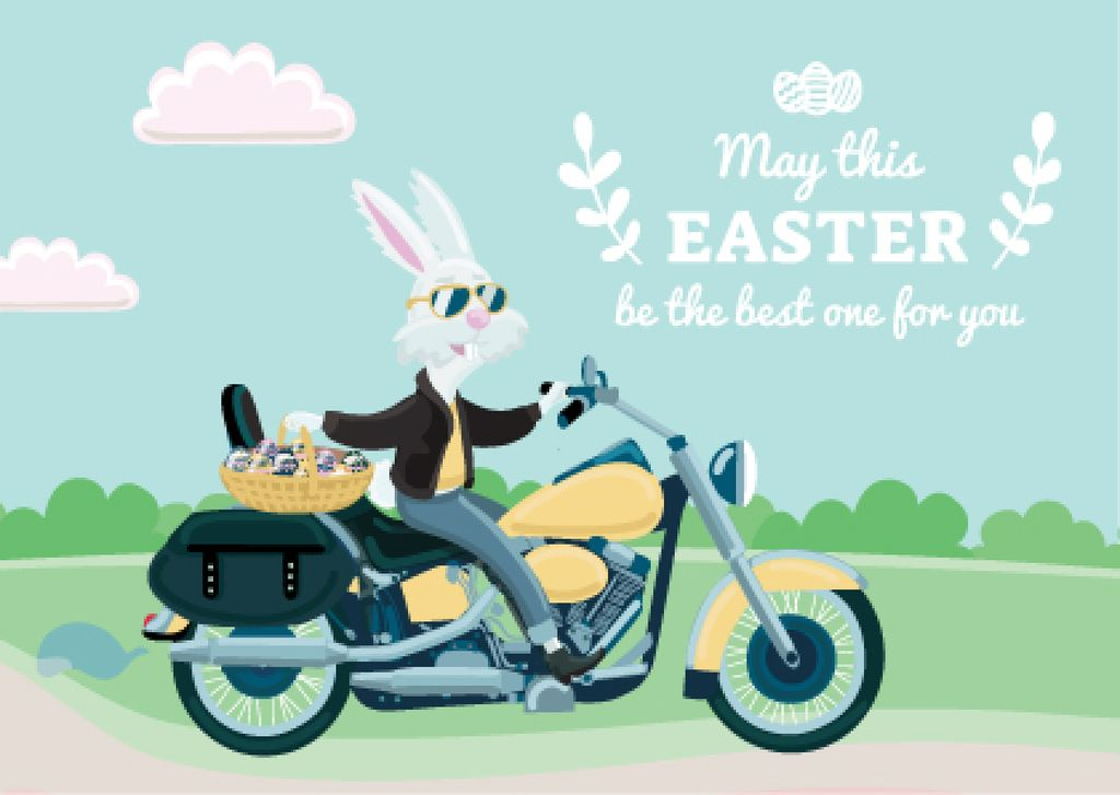 Easter Greeting Bunny on Motorcycle — Modelo de projeto