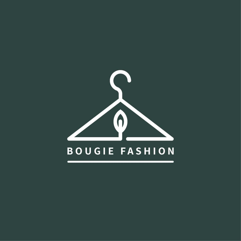 Fashion Ad Clothes Hanger in Green | Logo Template — Modelo de projeto