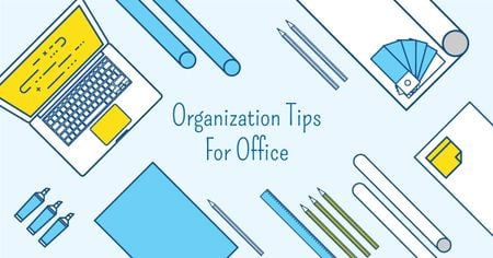 Ontwerpsjabloon van Facebook AD van Organization tips for office with Stationery on Workplace