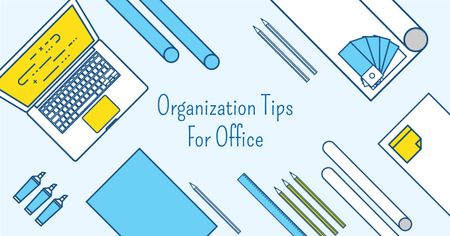 Designvorlage Organization tips for office with Stationery on Workplace für Facebook AD