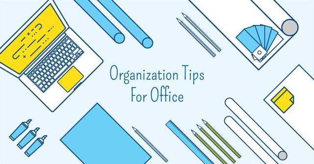 Organization tips for office with Stationery on Workplace Facebook AD – шаблон для дизайну