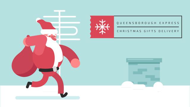Designvorlage Santa Claus running on roof für Full HD video