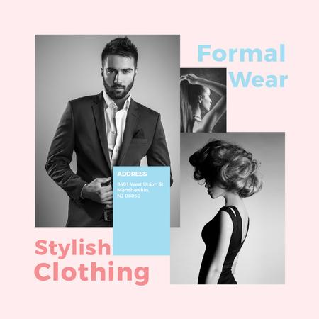 Modèle de visuel Fashion Ad Woman and Man with modern hairstyles - Instagram AD