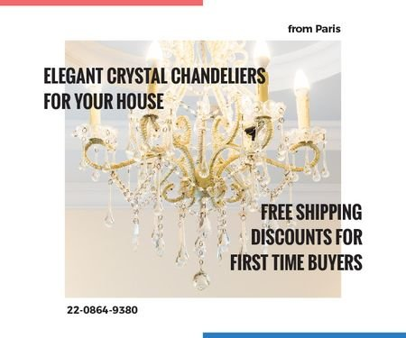 Elegant Crystal Chandelier Ad in White Large Rectangle Design Template