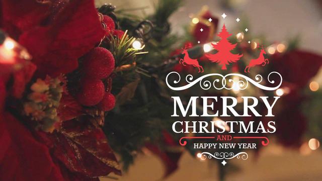 Blinking garland on Christmas tree Full HD video – шаблон для дизайну