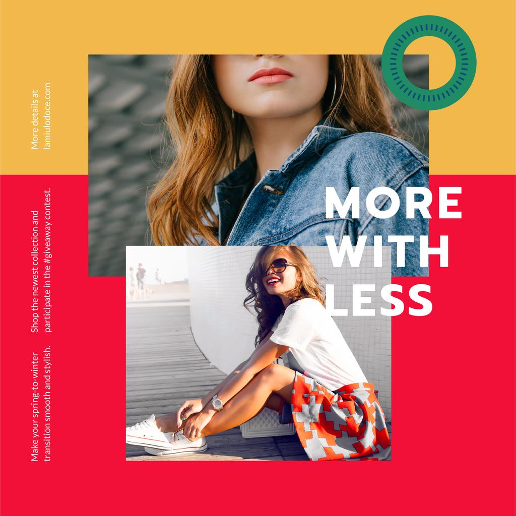 Template di design Fashion Store ad with Happy young Woman Instagram