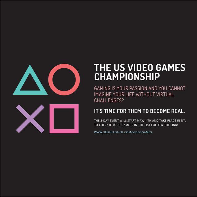 Video Games Championship announcement Instagram AD Design Template
