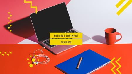 Business Software Laptop on Working Table Youtube Tasarım Şablonu