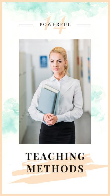 Plantilla de diseño de Confident woman holding books Instagram Story