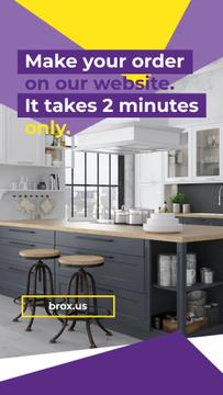 Modern Home Kitchen Interior | Vertical Video Template