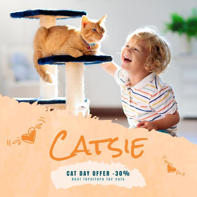Cat Day Offer with Child Playing with Red Cat Animated Post Modelo de Design