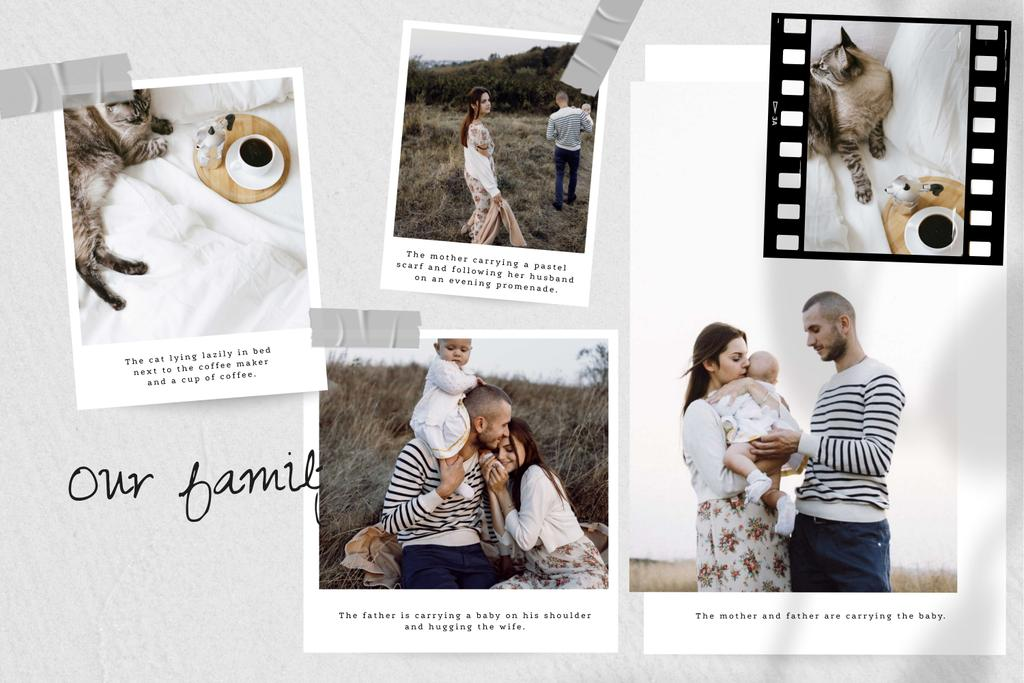 Happy Family with Baby and Cat Storyboard Design Template