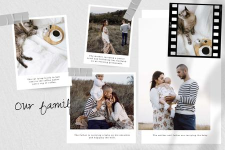 Plantilla de diseño de Happy Family with Baby and Cat Storyboard