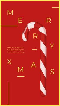 Christmas Card with Candy Cane | Stories Template