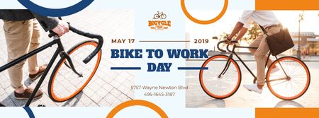 Plantilla de diseño de Man riding bicycle in city on Bike to Work Day Facebook cover