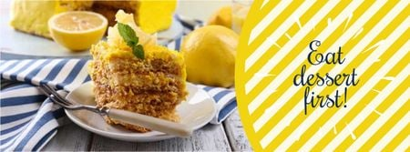 Designvorlage Delicious dessert in saucer with fork für Facebook cover