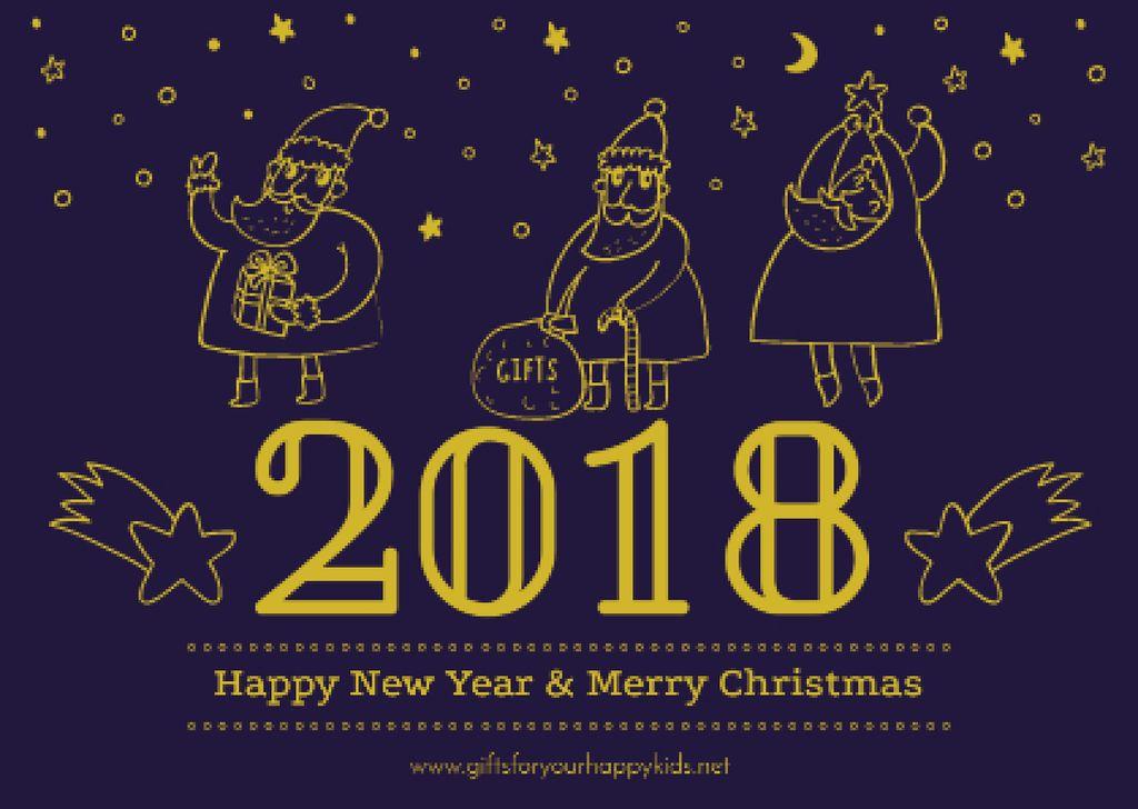Merry Christmas Greeting with Santas — Crea un design